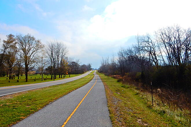 Pennsy Greenway South of Rt. 30 The trail is right next to the road here...taken 12-3-16