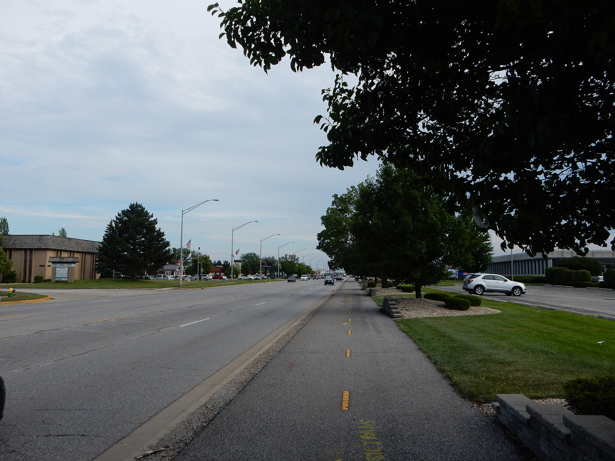Pennsy Greenway Along Calumet Ave. From Centennial Park, the trail runs north along Calumet Ave. At the Walgreens at the corner of Calumet and Fisher, the trail continues west along Fisher. Taken 7-5-17.