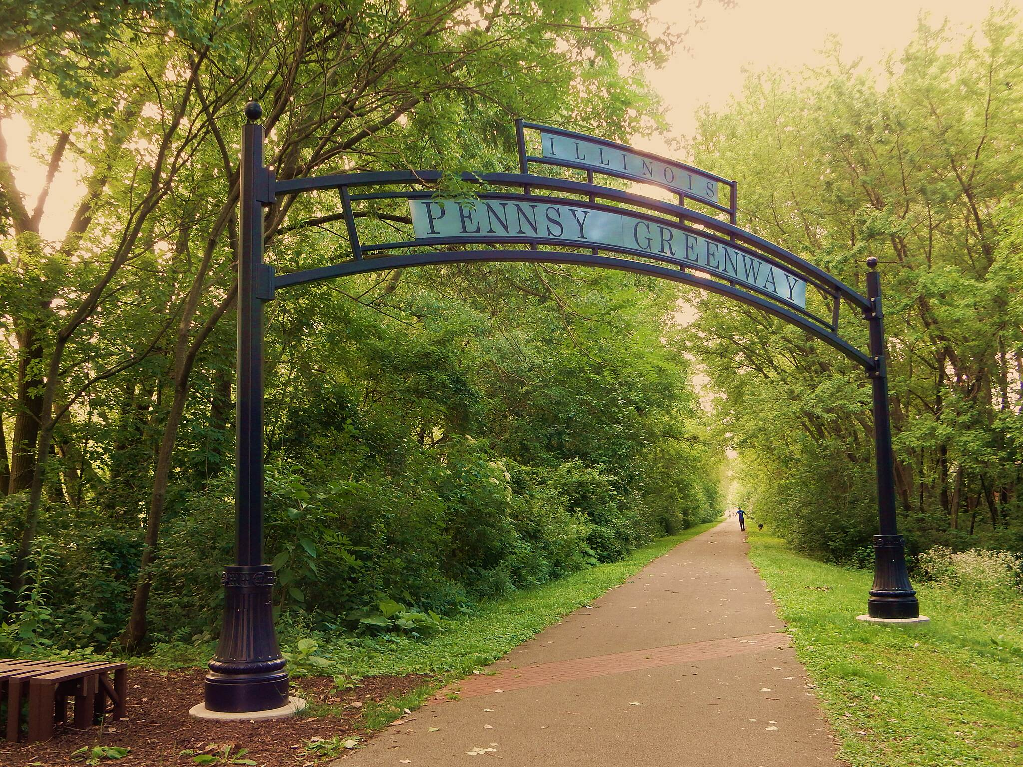 Pennsy Greenway Welcome to Lansing, Illinois. Taken north of Fisher Ave., 7-5-17.