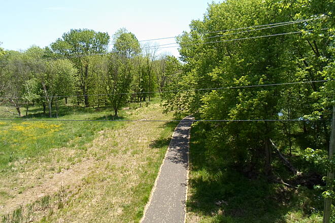 Perkiomen Trail Perkiomen Trail View from the trestle south of Graterford. The Skippack Trail can be seen below. Taken May 2015.