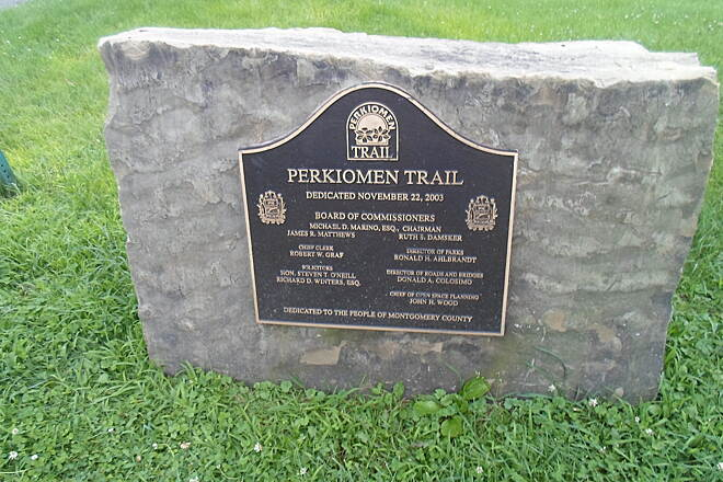 Perkiomen Trail Perkiomen Trail Dedication cornerstone commemorating the trail's completion at Lower Perkiomen County Park.
