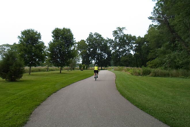 Perkiomen Trail Perkiomen Trail Cyclist enjoying an evening ride through Lower Perkiomen County Park. Taken July 2015.