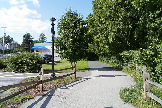 Perkiomen Trail Perkiomen Trail Looking north along the greenway at the Collegeville trailhead. Taken July 2015.