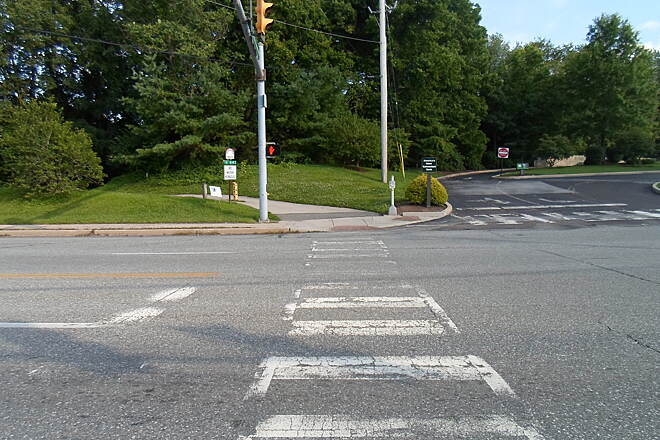 Perkiomen Trail Perkiomen Trail The crosswalk that takes the trail across Route 29 is fading and needs repainted. It resumes off-road immediately to the east. Taken July 2015.