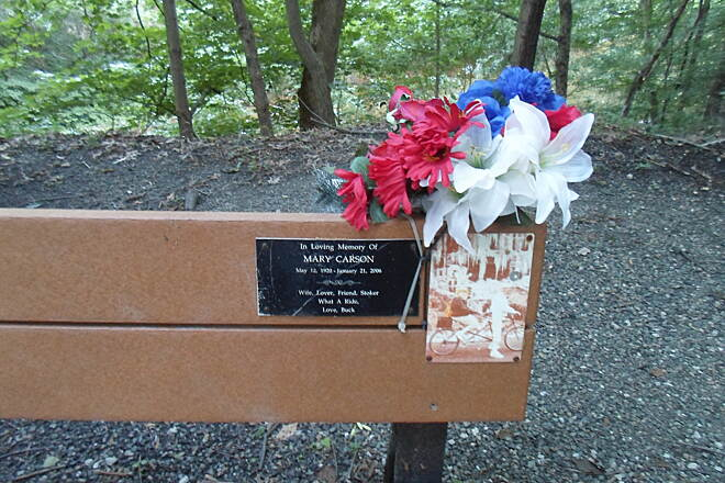 Perkiomen Trail Perkiomen Trail Located near Arcola, this bench doubles as a memorial. Taken July 2015.