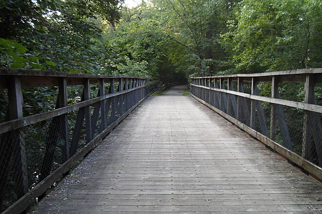 Perkiomen Trail Perkiomen Trail Bridge over Doe Run in Arcola. Taken July 2015.