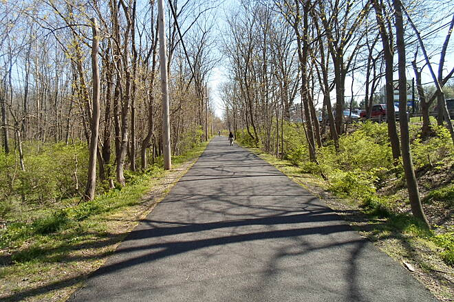 Perkiomen Trail Perkiomen Trail Tree-lined section through Central Perkiomen Valley Park.