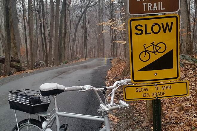 Perkiomen Trail Top of big hill Top of 12% grade on 'Silver Bullet'