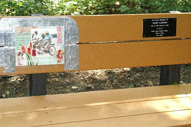 Perkiomen Trail Bench Memorial This bench is alongside the trail.  'Wife, Mother, friend, Stoker, what a ride'  Mary Carson