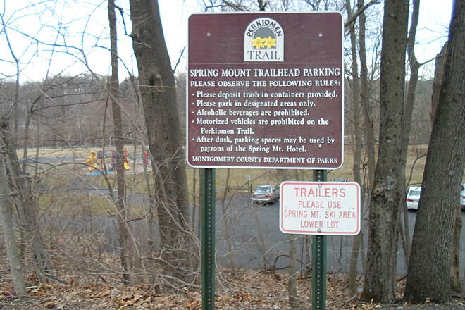 Perkiomen Trail Perkiomen Trail One of several signs greeting trail users at the Spring Mount trailhead.