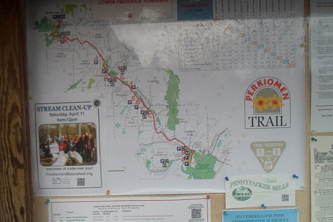 Perkiomen Trail Perkiomen Trail Map of the greenway at the Spring Mount trailhead. Taken early Apr. 2015.