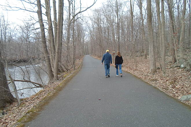 Perkiomen Trail Perkiomen Trail One of many couples who were enjoying strolls on the trail on a warm, early spring evening. Taken April 2015.