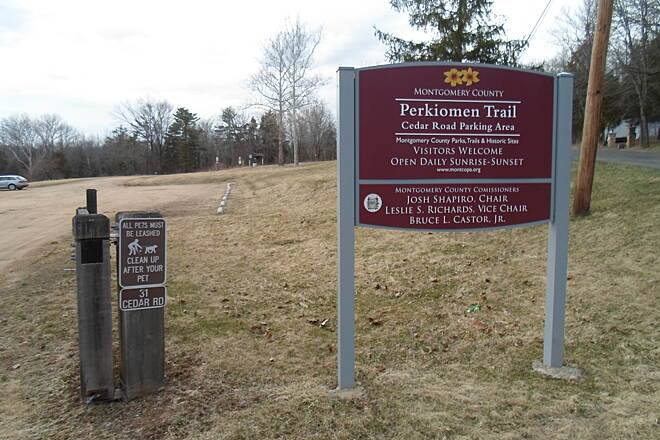 Perkiomen Trail Perkiomen Trail Sign welcoming guests to the trailhead off Cedar Road. Taken April 2015.