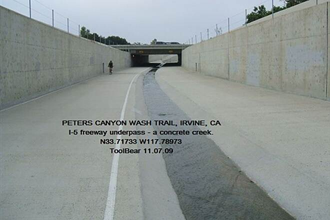 Peters Canyon Trail PETERS CANYON WASH TRAIL, Irvine, CA Guess which crossing floods out first?  Could it be I-5?