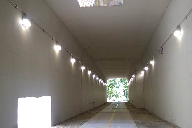 Phoenix Trail Skylight Tunnel with lights and a skylight