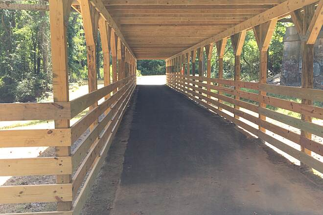 Piedmont Medical Center Trail bridge connecting to new trail addition