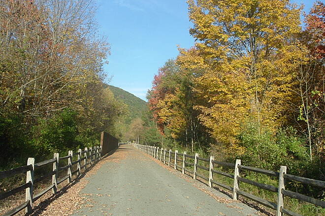 Pine Creek Rail Trail Trail Near Wellsboro Junction Beautiful blue sky, beautiful fall scenery, beautiful trail, beautiful day!