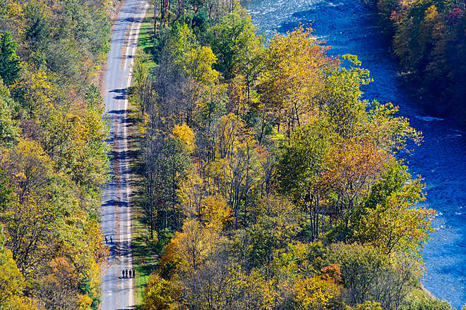 Pine Creek Rail Trail Pine Creek Trail at Ansonia Autumn view of the Pine Creek Gorge RT in the Grand Canyon of Pennsylvania from Colton Point State Park near Ansonia.