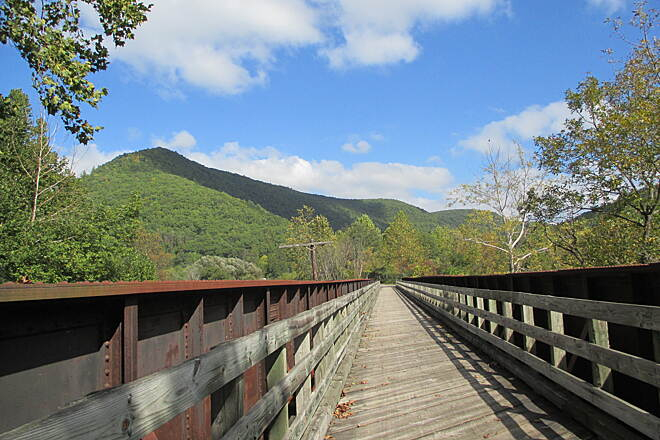 Pine Creek Rail Trail Mountains View fron Pine Creek Gorge