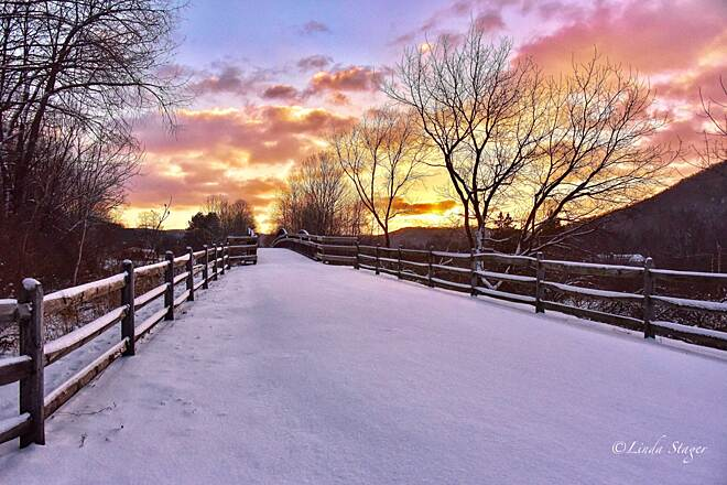 Pine Creek Rail Trail Winter sunrise Photo by Linda Stager, The Pine Creek Rail Trail Guidebook.