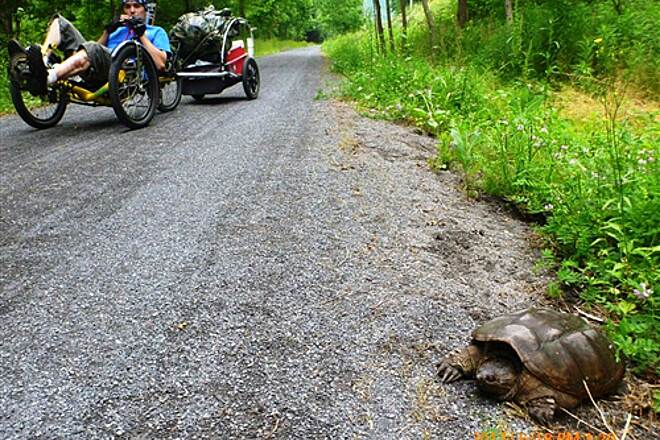 Pine Creek Rail Trail Joe Bellehumeur on Pine Creek Trail meets a Big Turtle Holy Shell Mobile