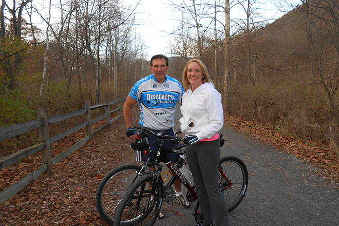 Pine Creek Rail Trail November 2013 Can't belive it was November and we were wearing short sleeves and light jackets.  5 miles in from Jersey Shore PA trail head