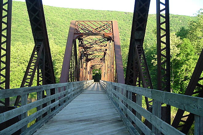 Pine Creek Rail Trail Bridge near Waterville Beautiful this time of year.