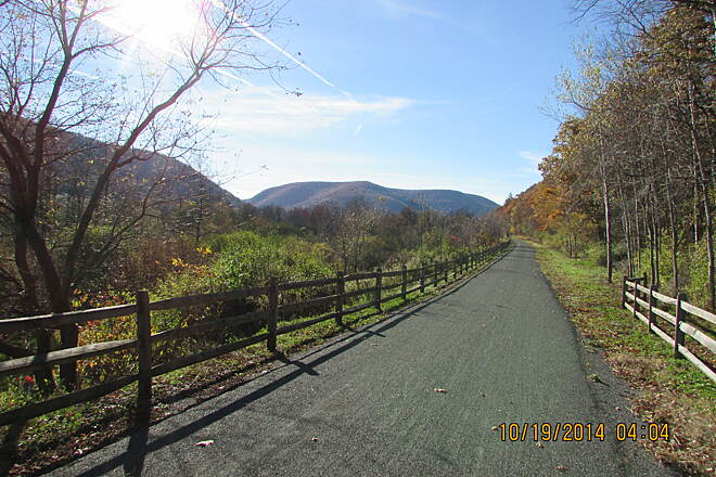 Pine Creek Rail Trail toward canyon from Asaph