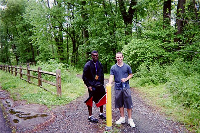 Pomeroy and Newark Rail Trail Pomeroy Trail The trail is highly popular among students from the nearby University of Delaware, two of whom posed for this pic taken on the section that closely parallels Creek Road north of Newark. Taken May 2012.