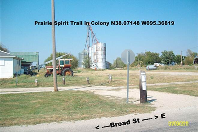 Prairie Spirit Trail State Park  Prairie Spirit Trail Turns at Broad St in Colony, KS