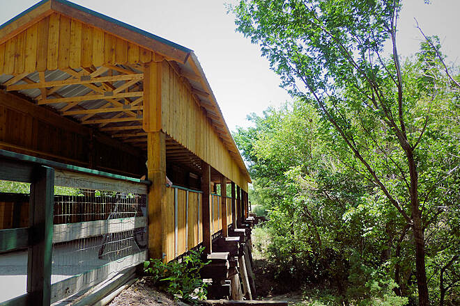 Prairie Sunset Trail Covered Bridge. Cecile Kellenbarger memorial covered bridge.