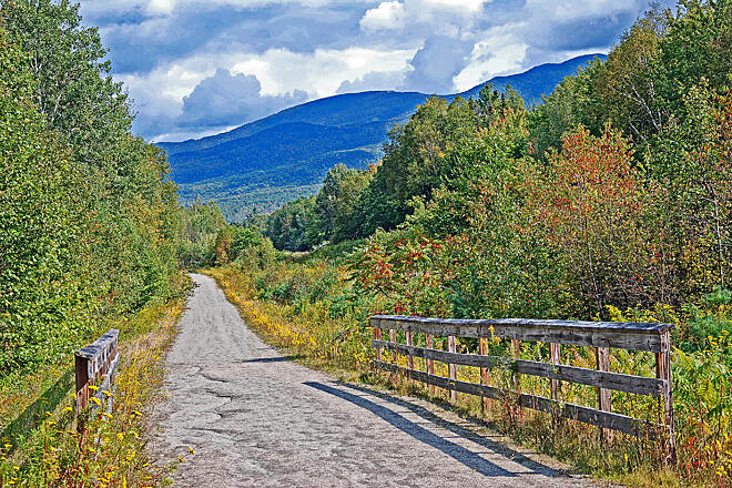 Presidential Rail Trail Gorham, NH A view of the White Mountains from the rail trail in Gorham, NH.