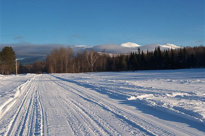 Presidential Rail Trail Winter View  Riding the Presidential Range trail, Mt. Washigton in background