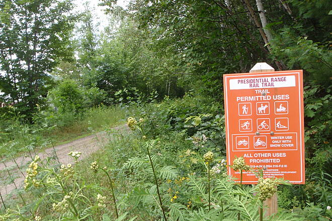 Presidential Rail Trail Sign to the trail in gorham parking area