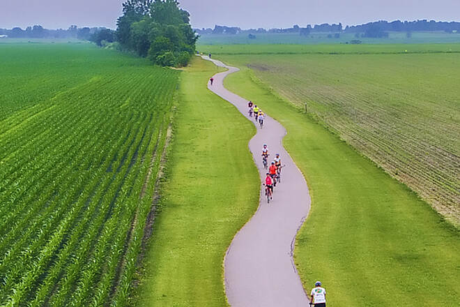 Pumpkinvine Nature Trail The Pumpkinvine Nature Trail seen from a drone  The photo was taken June 17, 2017 during the Pumpkinvine Bike Ride and show a section of the trail south of County Road 26 north of Goshen.