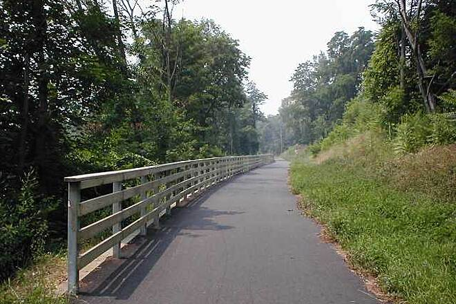 Putnam Trailway Putnam Trailway Protective fencing along the trail near Mahopac, NY.