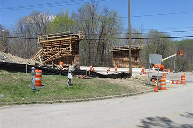 Putnam Trailway  Bridge supports for Rte 6 overpass