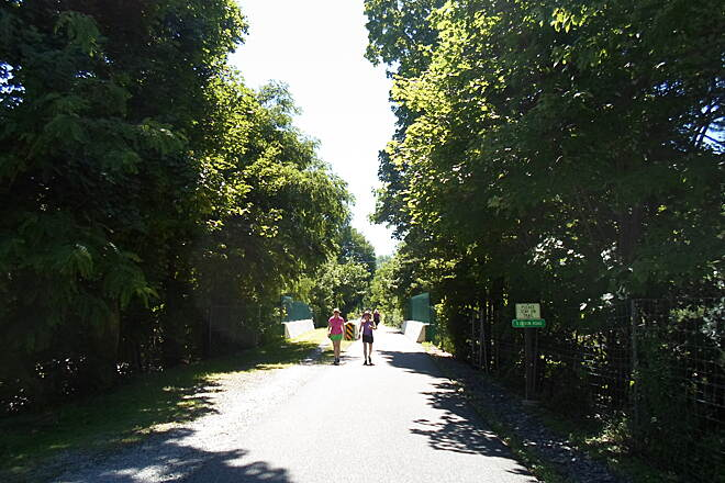 Radnor Trail Radnor Trail This woman and her child were enjoying a summer stroll on the trail. Taken July 2014.