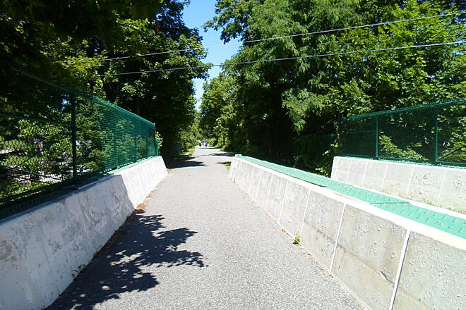 Radnor Trail Radnor Trail Despite being abandoned in the 50's, the bridges along the old line were never razed, allowing them to be restored for trail use. Because of this, there are no at-grade crossings. Taken July 2014.