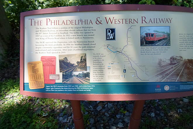 Radnor Trail Radnor Trail Interpretive sign near the Conestoga Road trailhead explaining the history of the old trolley line that the trail was built along.