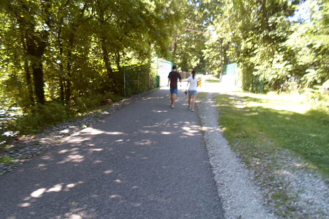 Radnor Trail Radnor Trail This couple was jogging towards the bridge over Conestoga Road near the trail's east end.