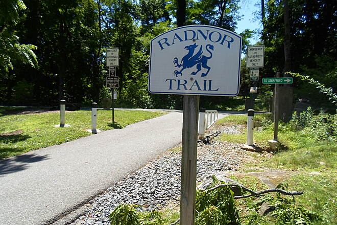 Radnor Trail Radnor Trail Stylized sign marking the trail; this one is at the trailhead off Conestoga Road.