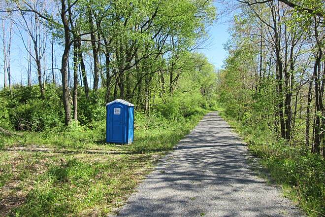 Rail 66 Country Trail Porta John Portable restroom along the trail.  Approx mile 7.5