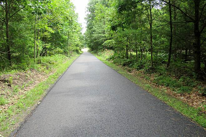 Rail 66 Country Trail New surface, Heading North Miles 0-4.5 are brand new asphalt pavement like this