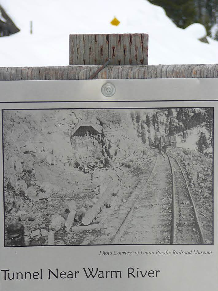 Railroad Right-of-Way Trail Sign describing tunnel