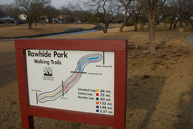 Rawhide Park Trail Rawhide Park Walking Trails Sign for the Rawhide Park Walking Trails in Farmers Branch, Texas. Photo Copyright © 2013 Chris Silver Smith, 2009. Used with permission. http://silvery.com