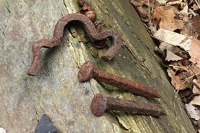 Redbank Valley Rail Trail Anchor and Spikes Redbank Rail History near Mile Post 11