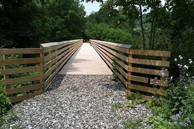 Redbank Valley Rail Trail Spur bridge at MP 19.5 to South Bethlehem Great job with the decking folks! Far end is Kohlersburg Rd.