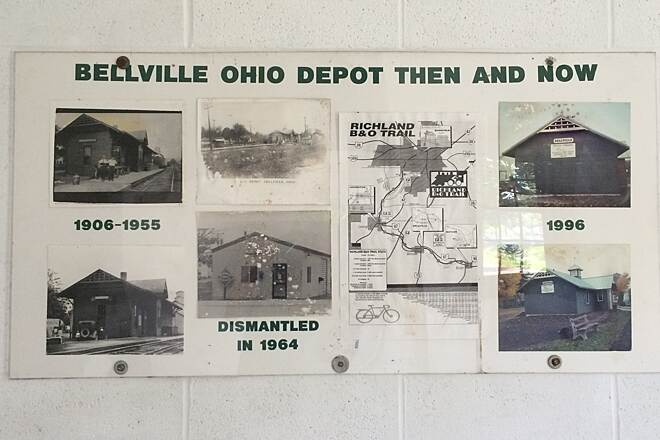 Richland B&O Trail Depot Then and Now Bellville Ohio Depot, posted inside the depot