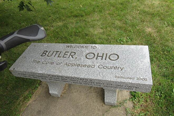 Richland B&O Trail Butler OH Nice bench in Butler OH at the trailhead